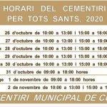 Horari Cementiri Tots Sants 2020