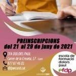 Període de preinscripció al CFA Dolors Paul pel curs 2021-2022